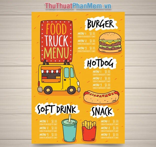 Mẫu menu thực đơn nhà hàng đồ ăn nhanh