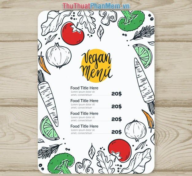 Mẫu menu thực đơn nhà hàng đơn giản