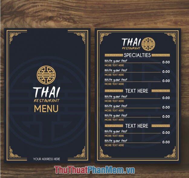 Mẫu menu thực đơn nhà hàng phong cách Trung Đông