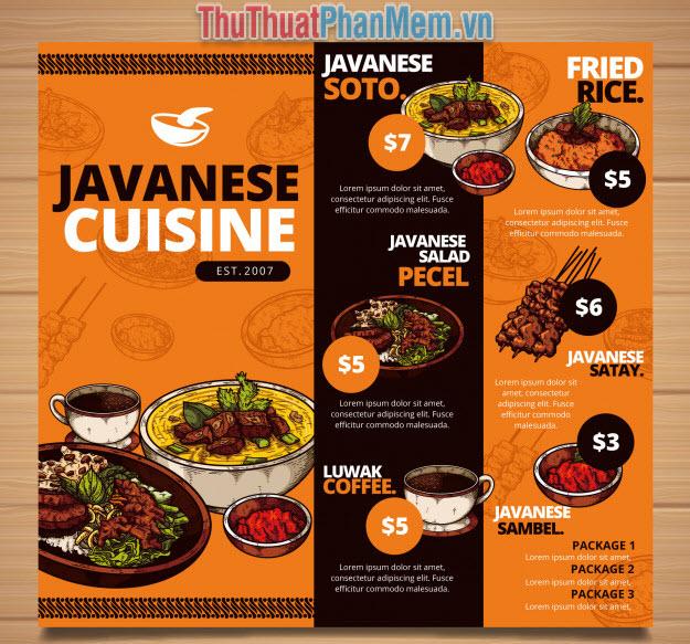 Mẫu menu thực đơn nhà hàng phong cách vintage