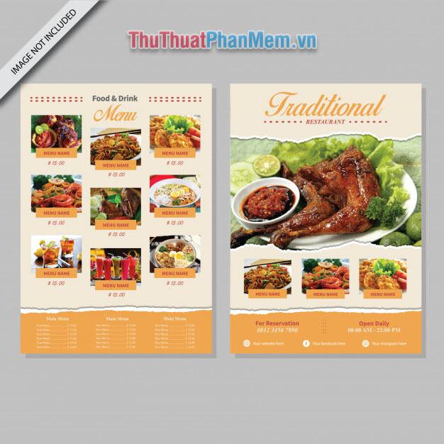 Mẫu menu thực đơn nhà hàng