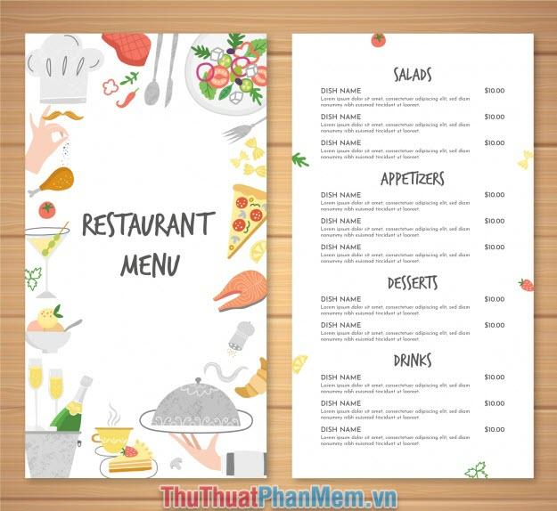 Mẫu thực đơn nhà hàng đầy đủ