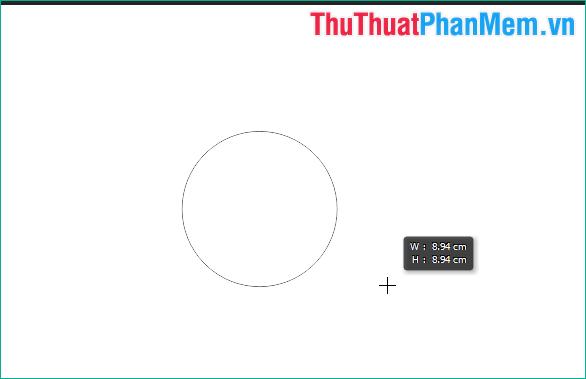 Nhấn giữ phím Shift sau đó kéo thả chuột để vẽ hình tròn