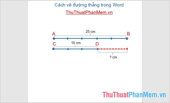 Sử dụng textbox để chèn thêm nội dung văn bản trên đường thẳng