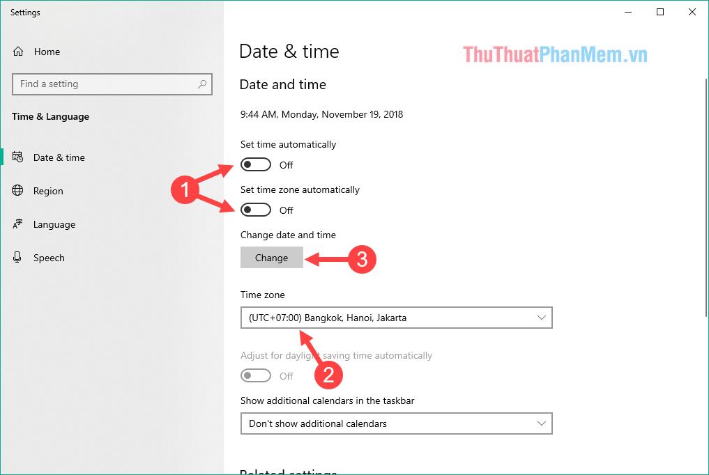 Tắt tính năng Set time automatically và Set time zone automatically
