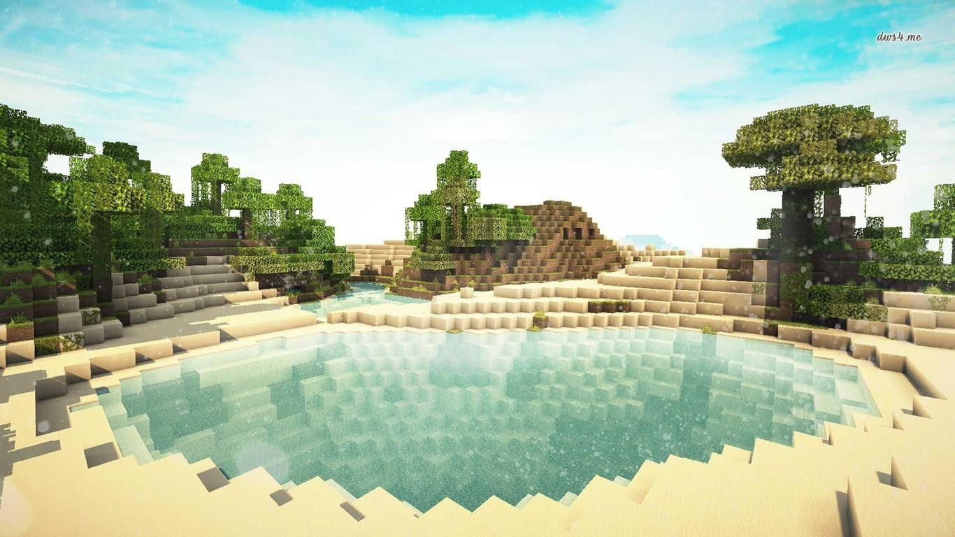 Hình nền hồ nước Minecraft