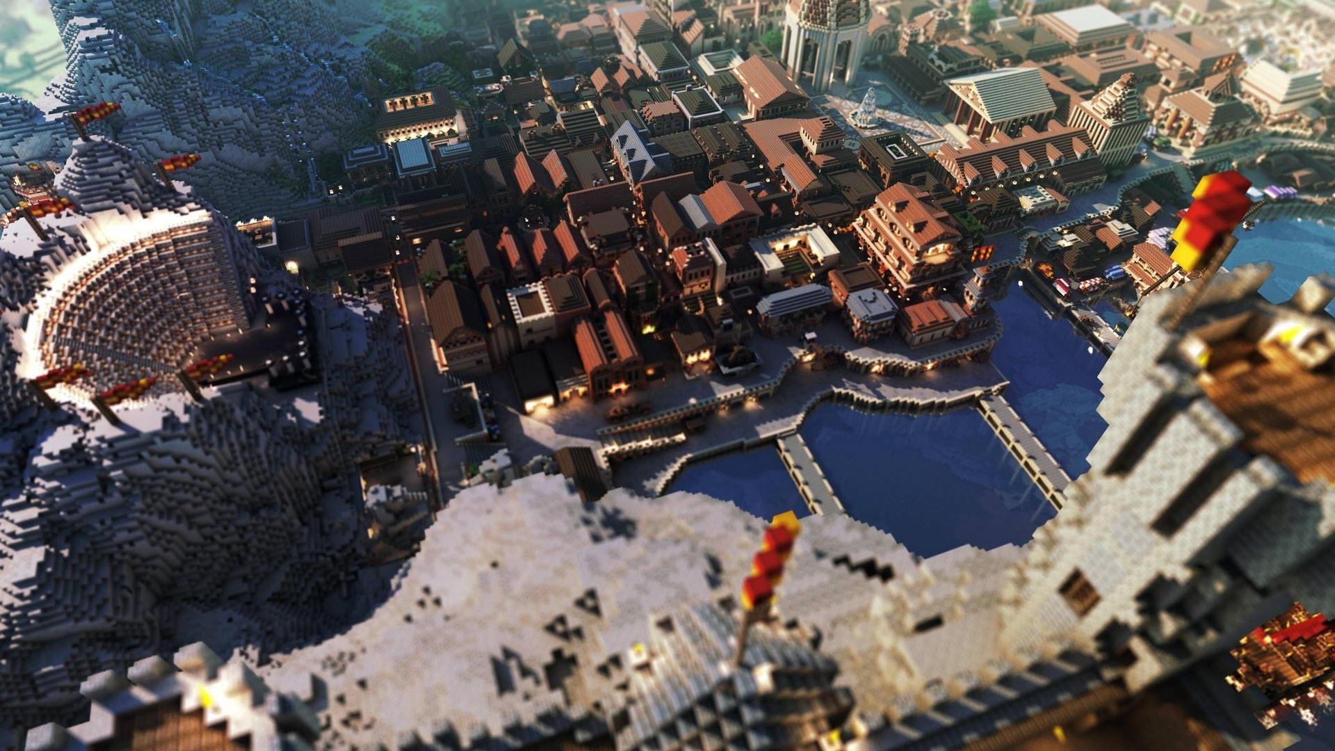 Hình nền thành phố Minecraft cực đẹp