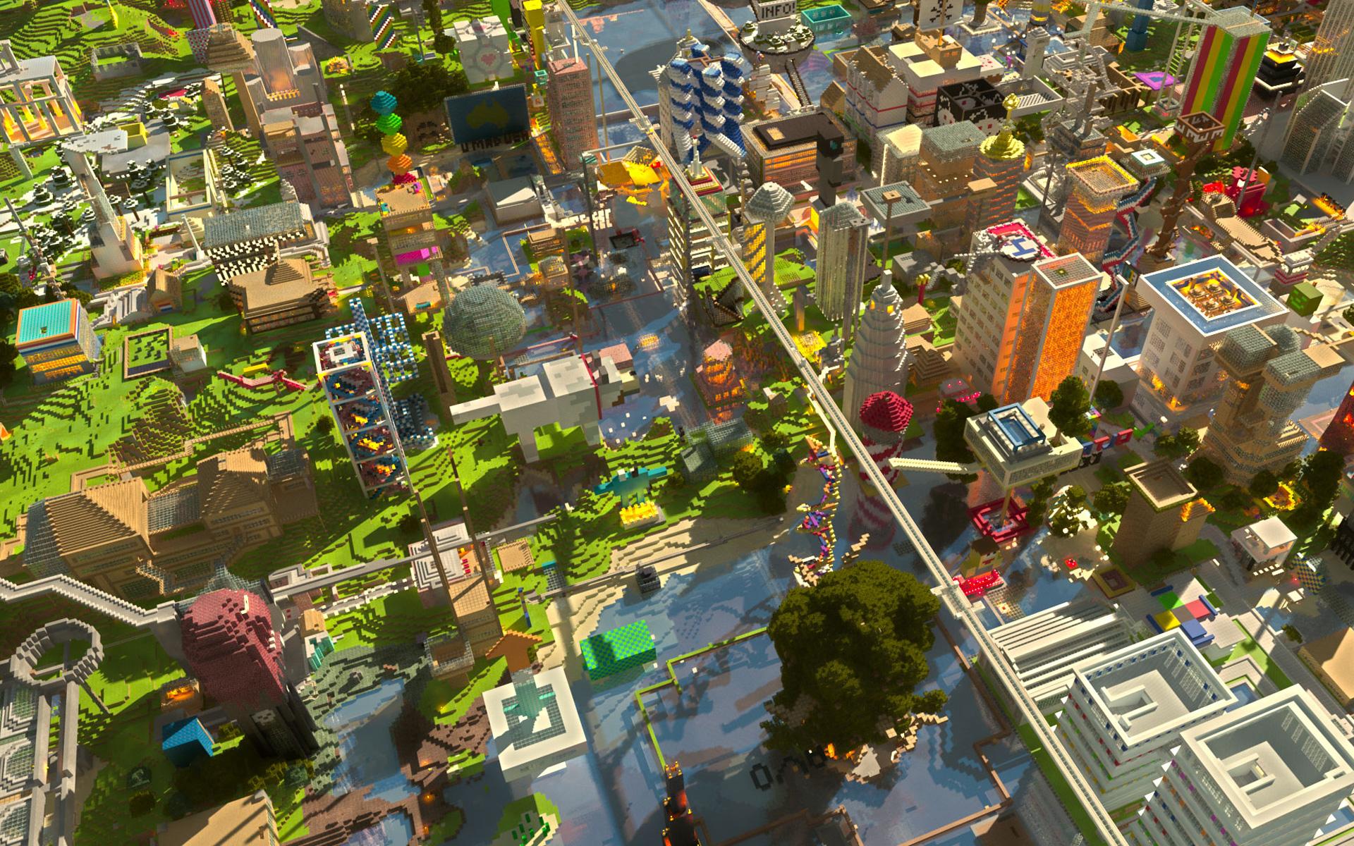 Hình nền thành phố trong Minecraft