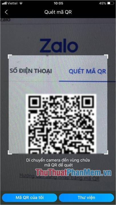 Di chuyển camera điện thoại vào phần mã QR trên Zalo PC