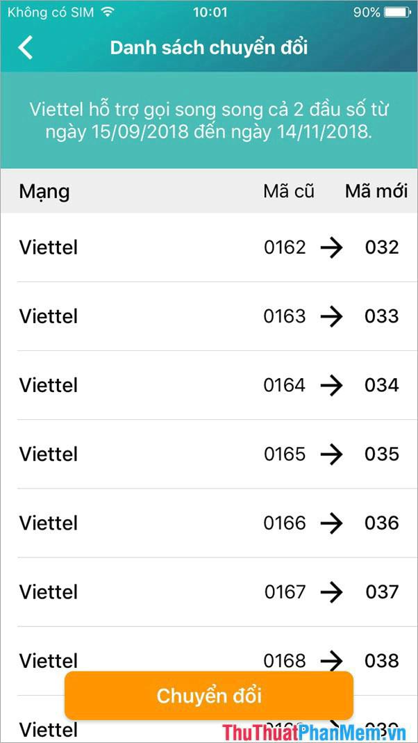 Đổi đầu số trên danh bạ nhanh chóng với ứng dụng My Viettel