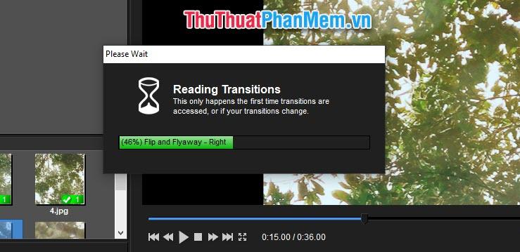 Đợi một chút để phần mềm tiến hành thêm các hiệu ứng vào ảnh