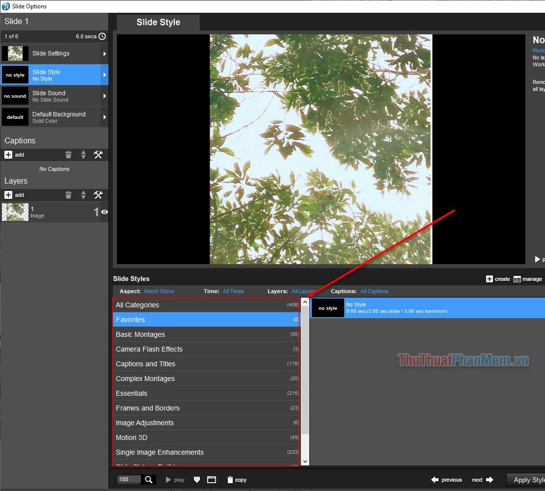 Nhấn đúp chuột vào các slide ảnh trong SlideList để mở cài đặt chỉnh sửa