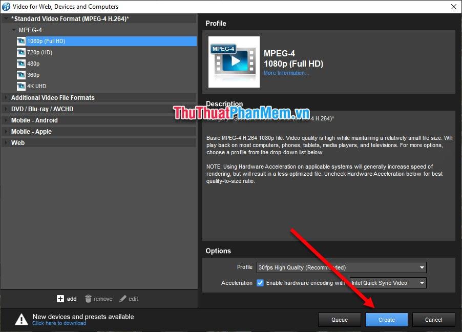 Xuất Video ra bằng cách nhấn Create