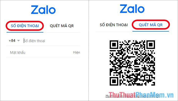 Zalo PC hỗ trợ các bạn 2 cách đăng nhập