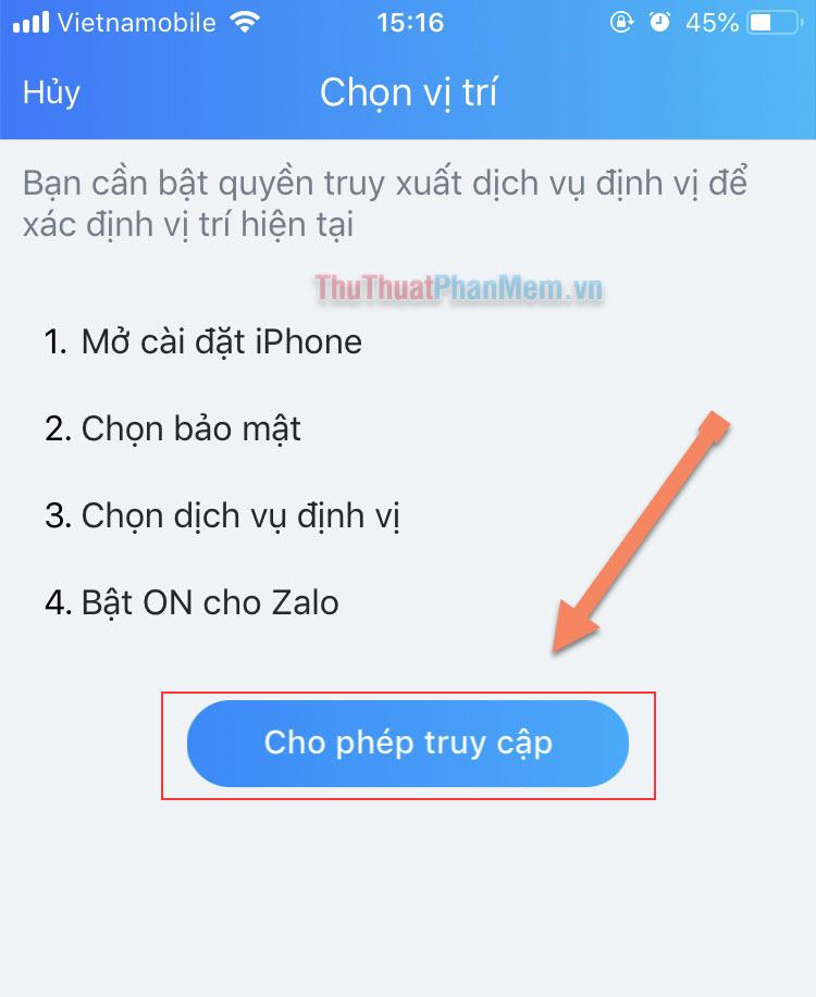 Zalo yêu cầu truy cập vào Định vị - Nhấn Cho phép truy cập