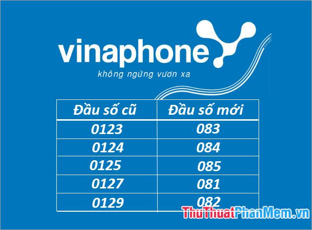 Các đầu số của thuê bao 11 số của mạng VinaPhone được chuyển đổi thành đầu số 08x