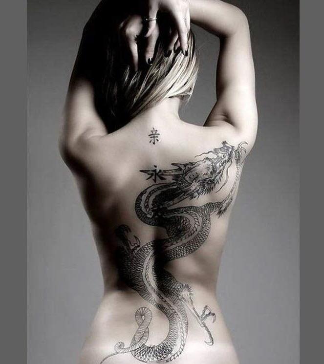Hình xăm rồng kín lưng cho nữ