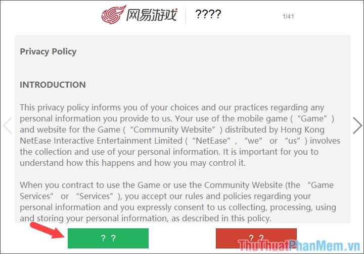Bấm vào ô vuông màu xanh để đồng ý với các điều khoản của NetEase