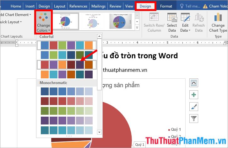 Chọn biểu đồ - Design - Change Colors - chọn màu