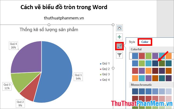 Chọn Chart Style - chọn màu trong phần Color