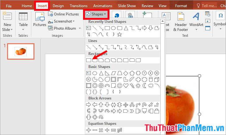 Chọn Insert - Shapes - chọn hình chữ nhật