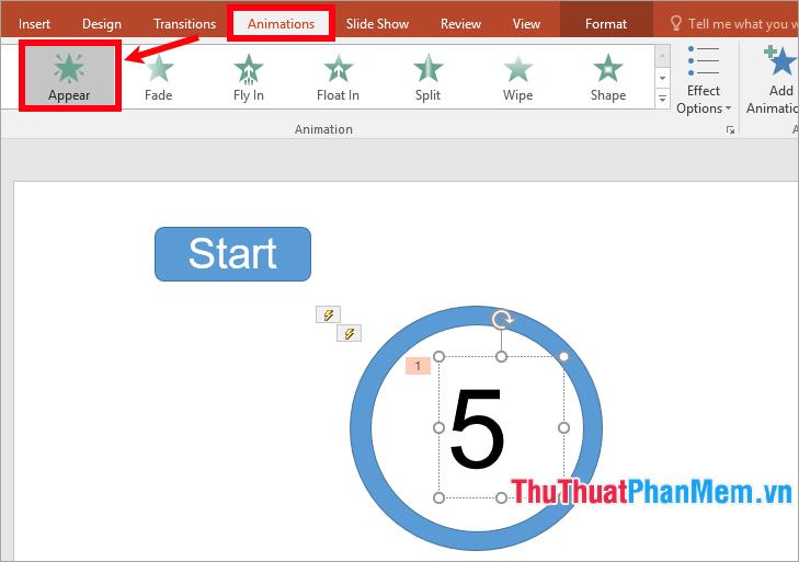 Chọn số 5, chọn thẻ Animations và chọn hiệu ứng hiển thị