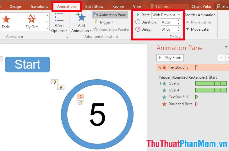 Chọn tên hiệu ứng vừa thêm và thiết lập trong thẻ Animations