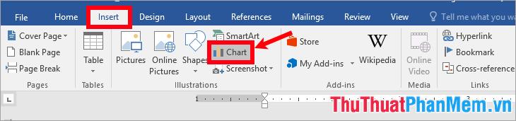 Chọn thẻ Insert - Chart