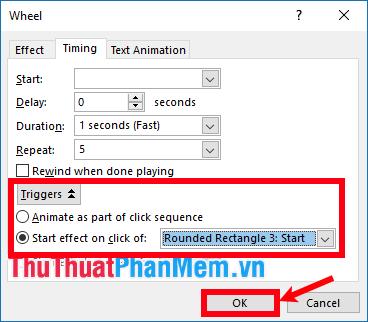 Chọn Triggers và chọn Start effect on click of là [tên nút Start]
