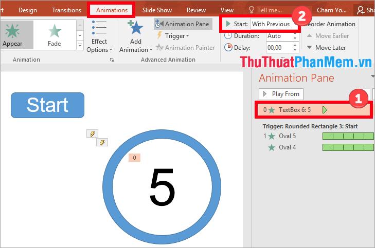 Chọn vào tên hiệu ứng trong phần Animation Pane và chỉnh sửa trong thẻ Animations với Start: With Previous
