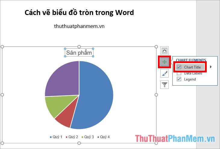 Đánh dấu tích chọn vào ô Chart Title để hiển thị tiêu đề biểu đồ