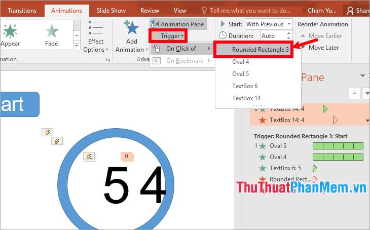 Gán trigger cho hai hiệu ứng của textbox số 4