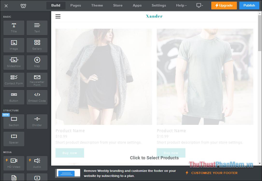 Làm quen với thao tác xây dựng website của Weebly (1)