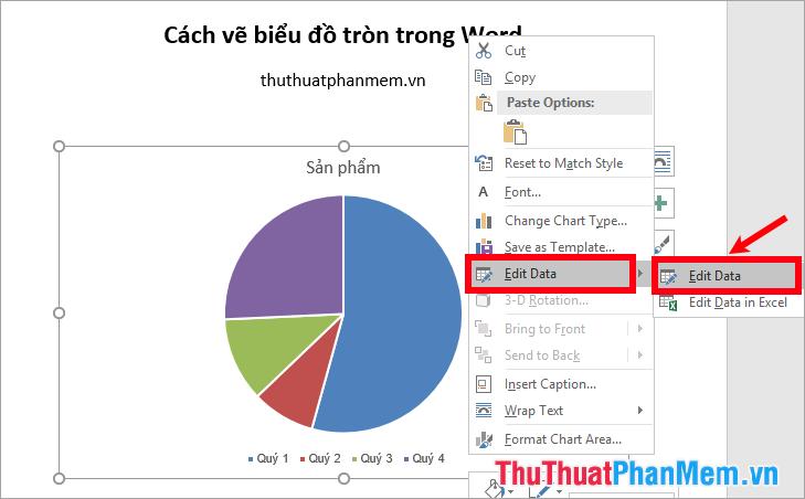 Nhấn chuột phải vào biểu đồ và chọn Edit Data - Edit Data