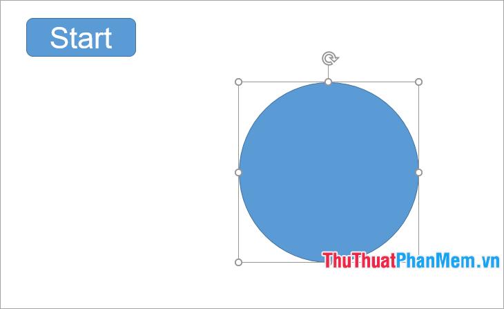 Nhấn giữ phím Shift để vẽ vòng tròn, to nhỏ tùy ý