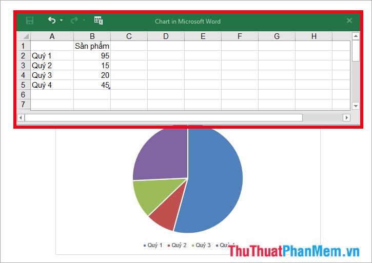 Nhập dữ liệu muốn vẽ biểu đồ tròn thay thế dữ liệu mẫu