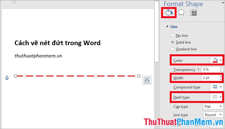 Thiết lập kiểu nét đứt trong phần Dash type