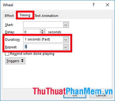 Trong thẻ Timing chọn Duration là 1 seconds (Fast), Repeat là 5