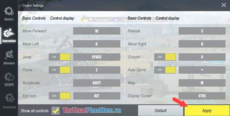Tuỳ chọn Operation là thiết lập các nút bấm cho trò chơi