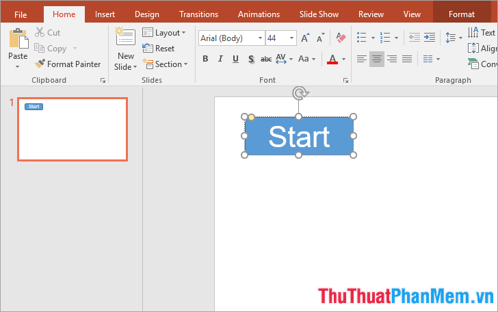 Vẽ hình vào slide sau đó thêm và chỉnh sửa chữ Start