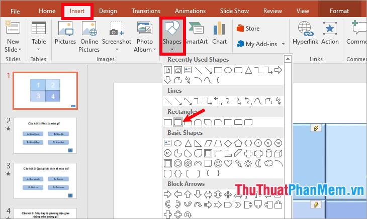 Chọn Insert - Shapes - chọn hình hoặc Action Buttons
