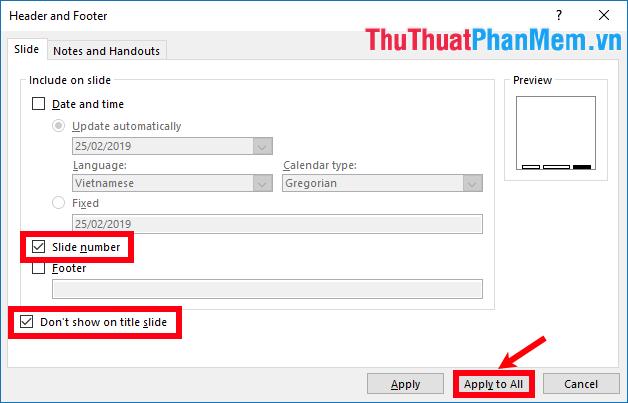 Đánh dấu chọn hộp kiểm trước Slide number và trước Don't show on title slide