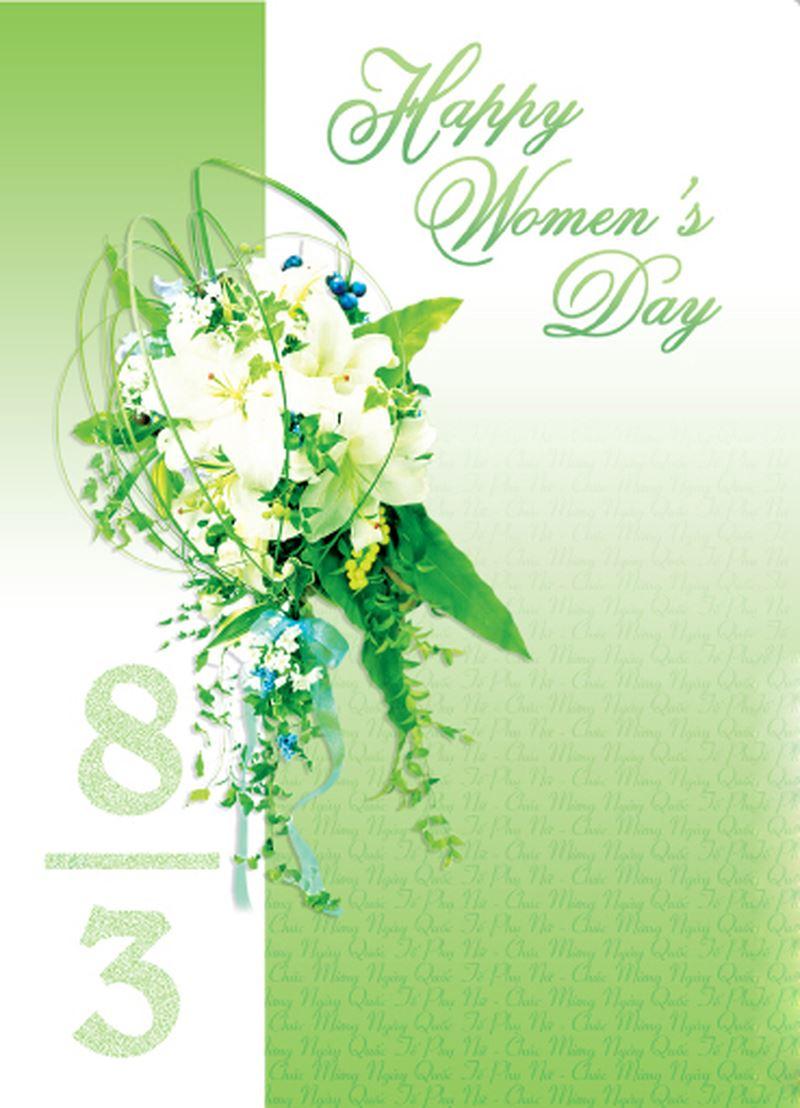 Thiệp chúc mừng ngày mùng 8 tháng 3 cùng bó hoa tươi