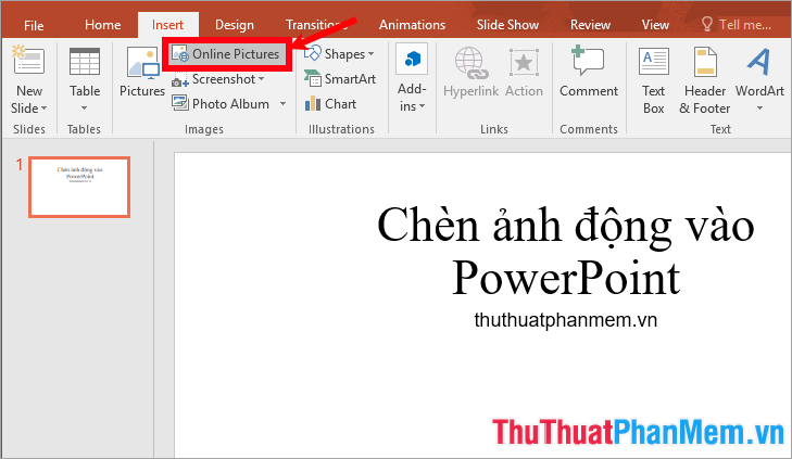 Chọn Insert - Online Picture
