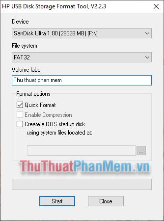 Sử dụng phần mềm HP USB Disk Storage Format Tool