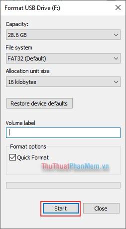 Thiết lập tùy chỉnh trước khi format