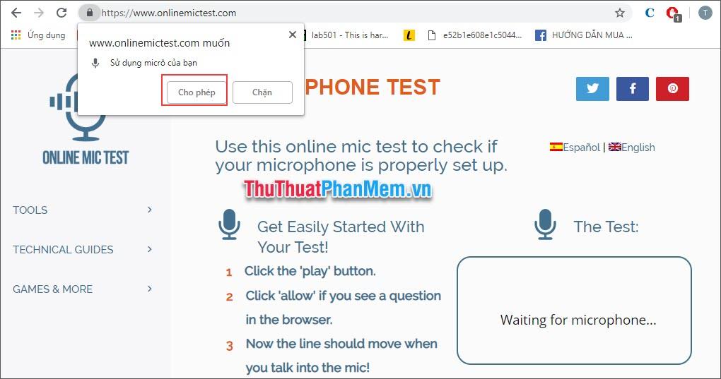 Trang web yêu cầu sử dụng microphone, hãy nhấn Cho phép