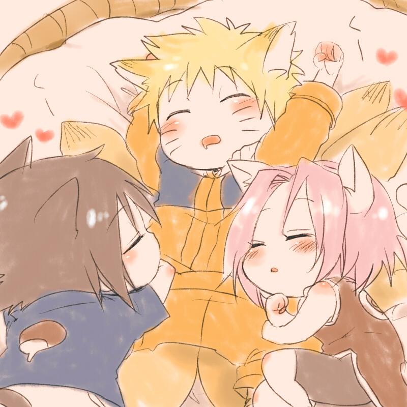 Ảnh anime 3 học viên đội 4 siêu cấp đáng yêu trong nhân dạng chibi
