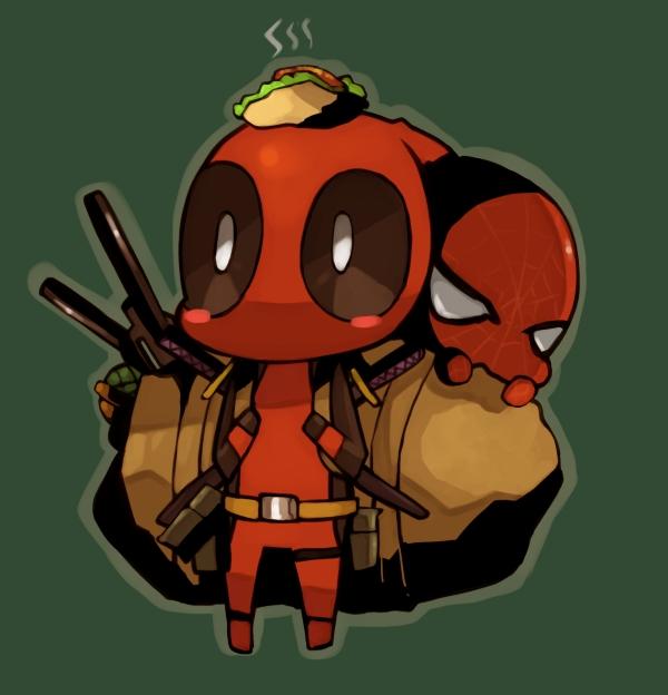 Ảnh anime Deadpool chibi dễ thương cõng Spiderman đi đâu đó