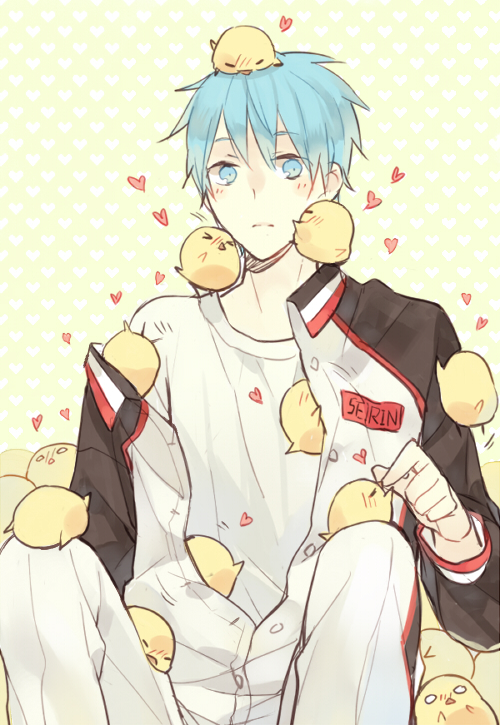 Ảnh anime Kuro Tetsuya đáng yêu bên lũ gà con